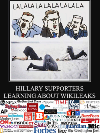 Abc, Memes, and News: LALALALALALALALALA  HILLARY SUPPORTERS  LEARNING ABOUT WIKILEAKS  The AewHork Times  TIME  REUTERS  abc  NEWS  FOX  Allanlic  THE  BBC  TODAY  WNEWS  HUFFINGTON  POST  NEWS  AP  GIZMODO  EDUCATION WEEK  MONITOR  THE DAILY  Good Housekeeping  BuzzFeeD  BUSINESS  BEAST  POPULAR  Mother ones  ENacINSIDER  SCIENCE  CNN  OCBS COSMO guardian  Mic  OO  Forbes Washington diost  NATIONAL  GEOGRAPHIC PHILANTHROPY