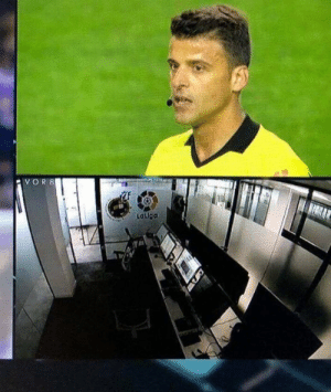Soccer, Spanish, and Goal: Lallga - Valladolid have a goal disallowed   - Referee goes to VAR   - Spanish TV cut to the VAR room and no one was in it  😂😂😂 https://t.co/auR5OgbRsN