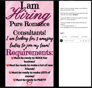 Guessing by the number of comments, NO ONE is interested.: Lam  Hiring  ...  What if I told you there's going to be a $99 Kit  Sale coming soon?!?!  Who has been watching me and wanting to see  what this is all about?  I paid over $350 for mine and made my money  back in 2, 3 hour parties  Pure Romance  These are limited so WHO wants first dibs on  these??  Comment below  Or message me if you have any questions  Consultants!  I am looking for 3 amazing  ladies to jon my team!  Requirements:  Ib 5  O Like  Share  Comment  Write a comment...  GIF  Must be ready to ROCK her  business!  Must be ready to make a lot of new  friends!  Must be ready to make LOTS of  money!  Must be ready to PARTY!  PURE ROMANCE Guessing by the number of comments, NO ONE is interested.