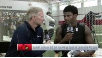 Memes, Run, and Pro: Lamar Jackson did not run 40-yd dash at Louisville Pro Day What did Lamar Jackson want to prove at his Pro Day?  @LJ_Era8's interview with @MikeMayock on @nflnetwork. https://t.co/0TOVL7TvgR