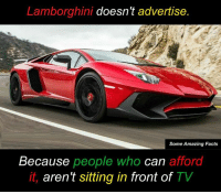 Memes, Lamborghini, and 🤖: Lamborghini doesn't advertise  Some Amazing Facts  Because people who can afford  it, aren't sitting in front of  TV