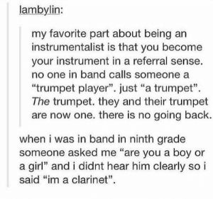 "Yah, Girl, and Band: lambylin:  my favorite part about being  instrumentalist is that you become  your instrument in a referral sense.  no one in band calls someone a  ""trumpet player"". just ""a trumpet""  The trumpet. they and their trumpet  are now one. there is no going back.  when i was in band in ninth grade  someone asked me ""are you a boy or  a girl"" and i didnt hear him clearly so i  said ""im a clarinet"". Well yah if you're in band you just say ""the flutes always get the melody"" referring to both the people and the instruments. And hen you have percussion which I play and I cane up with a great explanation for. Hit hit make sound sound"