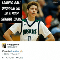 Memes, 🤖, and Unreal: LAMELO BALL  DROPPED 92  IN A HIGH  SCHOOL GAME  SwaggyMelo  MELOD1P  92 points  #love4lexi  11:29 PM 7 Feb 2017  1,739 1,912  @CBS Sports This young man is unreal.
