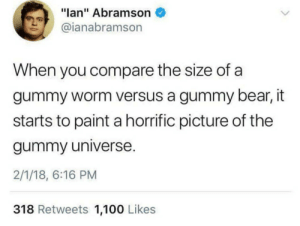 "100 Likes: ""lan"" Abramson  @ianabramson  When you compare the size of a  gummy worm versus a gummy bear, it  starts to paint a horrific picture of the  gummy universe  2/1/18, 6:16 PM  318 Retweets 1,100 Likes"
