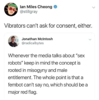 "Fucking, Sex, and Mind: lan Miles Cheong  @stillgray  Vibrators can't ask for consent, either.  Jonathan Mclntosh  @radicalbytes  Whenever the media talks about ""sex  robots"" keep in mind the concept is  rooted in misogyny and male  entitlement. The whole point is that a  fembot can't say no, which should be a  major red flag. Fucking a"