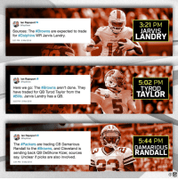 A busy day for the Cleveland @Browns! https://t.co/EUwMOJh1wV: lan Rapoport  RapSheet  3:21 PM  JARVIS  LANDRY  Sources: The #Browns are expected to trade  for #Dolphins WR Jarvis Landry.  3:21 PM-9 Mar 2018  Dolph  Ian Rapoport  Here we go: The #Browns aren't done. They  have traded for QB Tyrod Taylor from the  #Bills. Jarvis Landry has a QB.  5:02 PM  TYROD  TAYLOR  BILLS  5:02 PM-9 Mar 2018  lan Rapoport  eRapSheet  The #Packers are trading CB Damarious  Randall to the #Browns, and Cleveland is  sending back QB DeShone Kizer, sources  say. Unclear if picks are also involved.  5:44 PM  DAMARIOUS  RANDALL  5:44 PM-9 Mar 2018 A busy day for the Cleveland @Browns! https://t.co/EUwMOJh1wV
