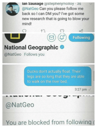 Ducks, National Geographic, and Mind: lan Sausage (@stephenjmolloy 3s  @NatGeo Can you please follow me  back so I can DM you? I've got some  new research that is going to blow your  mind!  t1.  Following  National Geographic  @NatGeo Follows you  Ducks don't actually float. Their  legs are so long that they are able  to walk on the river bed.  3:27 pm  @NatGeo  You are blocked from following New format with potential. You can edit the third frame. via /r/MemeEconomy https://ift.tt/2PFIcgm