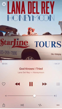 Fail, God, and Honeymoon: LANA DEL REY  HONEYMOON  Starline TOURS  00-268-7886  CAL-TCP 227S  00:04  04:37  God Knows Tried  Lana Del Rey  Honeymoon  II Me after I fail a math test