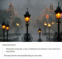 the most beautiful thing ive ever: lanaismyevilqueen  Disneyland during rain, or fog, or darkness is my favorite, it truly looks like a  hazy dream.  This has to be the most beautiful thing I've ever seen