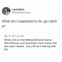 Bitch, Ironic, and Flo: Land Bitch  @PutinistaJonez  What am l supposed to do, go catch  it?  333 @CLa-Flo  While y'all on that #RobandChyna drama  #NorthKorea Just launched a test missle that  can reach Alaska.. but y'all ain't hearing that  tho Doomfist confirmed!