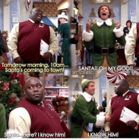 Elf, Memes, and Fave: land  M!  Tomorrow morning, 10am...  Santa's coming to town SAEO  Santa  here? I know him!  IKNOW HIM! Elf my fave