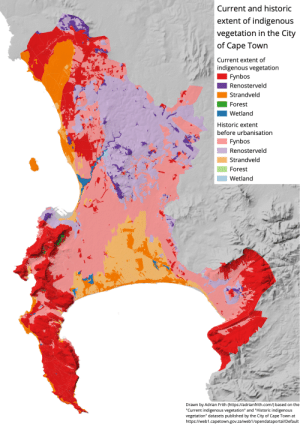 land-of-maps:  Current and historic extent of indigenous vegetation in the City of Cape Town, South Africa [1240x1753] [OC]: land-of-maps:  Current and historic extent of indigenous vegetation in the City of Cape Town, South Africa [1240x1753] [OC]