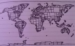 Bored, Tumblr, and Blog: land-of-maps:  Got bored so I drew a map of the world out of rectangles from memory. [1071 x 668]