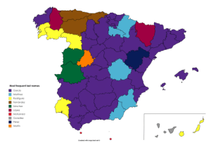 land-of-maps:  Most frequent last names in Spain by province [OC]: land-of-maps:  Most frequent last names in Spain by province [OC]