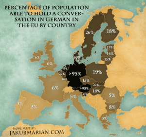 land-of-maps:  Percentage of population able to hold a conversation in German in the EU by country: land-of-maps:  Percentage of population able to hold a conversation in German in the EU by country