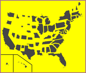 land-of-maps:  States of the U.S. sized according to population density: land-of-maps:  States of the U.S. sized according to population density