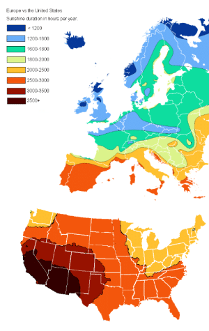 land-of-maps:  Sunshine duration in hours per year, USA and Europe: land-of-maps:  Sunshine duration in hours per year, USA and Europe