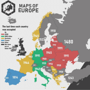 land-of-maps:  The last time each country in Europe was occupied. (Got this from Geography Now): land-of-maps:  The last time each country in Europe was occupied. (Got this from Geography Now)