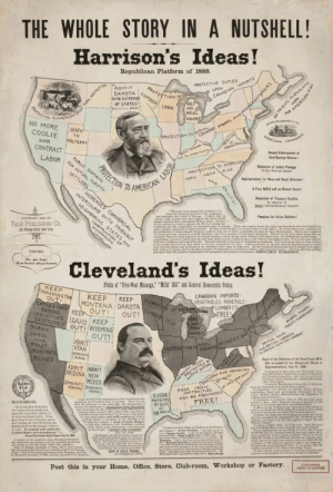 land-of-maps:  The Whole Story in a Nutshell! (Grover Cleveland vs Benjamin Harrison) (1888) [1047x1542]: land-of-maps:  The Whole Story in a Nutshell! (Grover Cleveland vs Benjamin Harrison) (1888) [1047x1542]