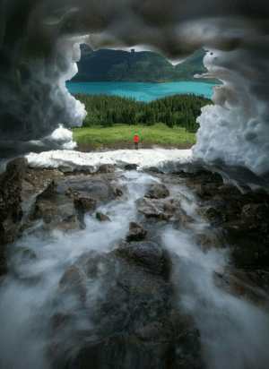 landscape-lunacy:  The view out towards Fortress Lake from a snow cave, Canada - by Paul Zizka: landscape-lunacy:  The view out towards Fortress Lake from a snow cave, Canada - by Paul Zizka
