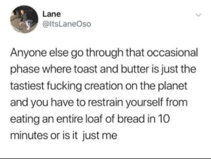 Fucking, Toast, and MeIRL: Lane  @ItsLaneOso  Anyone else go through that occasional  phase where toast and butter is just the  tastiest fucking creation on the planet  and you have to restrain yourself from  eating an entire loaf of bread in 10  minutes or is it just me meirl