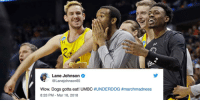 NFL players react to UMBC's historic upset over Virginia: https://t.co/W1yf3SSp1J #MarchMadness https://t.co/AGeKdf5nGk: Lane Johnson  @Lanejohnson65  Wow, Dogs gotta eat! UMBC #UNDERDOG #marchmadness  8:33 PM - Mar 16, 2018 NFL players react to UMBC's historic upset over Virginia: https://t.co/W1yf3SSp1J #MarchMadness https://t.co/AGeKdf5nGk
