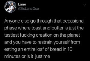 Food, Fucking, and Toast: Lane  @ltsLaneOso  Anyone else go through that occasional  phase where toast and butter is just the  tastiest fucking creation on the planet  and you have to restrain yourself from  eating an entire loaf of bread in 10  minutes or is it just me Top tier food