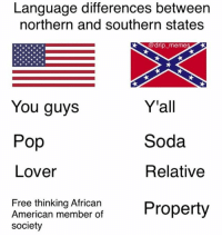 Black girls | Trash: Language differences between  northern and southern states  0 drip-meme  Y'all  Soda  Relative  You guys  Pop  Lover  Free thinking African  American member of  society  Anerican membe ot Property Black girls | Trash