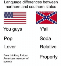 @drip_memes: Language differences between  northern and southern states  9d  dnp memes  Y'all  Soda  Relative  You guys  Pop  Lover  Free thinking African  American member of  society @drip_memes