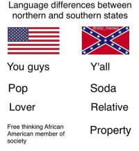 Oh: Language differences between  northern and southern states  @ drp memes  You guys  Pop  Lover  Yall  Soda  Relative  Free thinking Africarn  American member of  society Oh