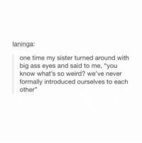 "Ass, Shit, and Weird: laninga:  one time my sister turned around with  big ass eyes and said to me, ""you  know what's so weird? we've never  formally introduced ourselves to each  other"" holy shit? i'm gonna go formally meet my sister rq wtf"