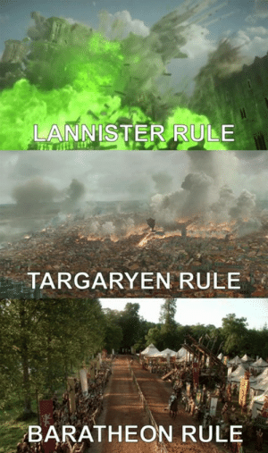 People of King's Landing, which one would you choose?: LANNISTER RULE  TARGARYEN RULE  BARATHEON RULE People of King's Landing, which one would you choose?