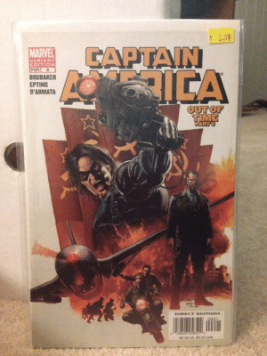America, News, and Superhero: LAPTAIN  VARIANT  EDITION  PSR 6  BRUBAKER  EPTING  D'ARMATA  OUTOF  DIRECT EDITION  0  $2.99 US $4.25 CAN superhero-news:  Captain America number 6, first appearance of Winter Soldier