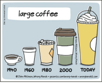 Coffee, Honduras, and Today: large coffee  940 IGO 980 2000 TODAY  Tohn Atkinson, Wrong Hands gocomics.com/wrong-hands wronghands1.com <p>¡Pero el vaso es nuevo y con granos de Honduras!</p>