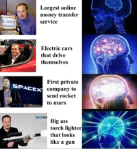 """Ass, Cars, and Memes: Largest online  monev transfer  Service  PayPal  Electric cars  that drive  themselves  First private  company to  send rocket  to mars  SPACE  techra  Big ass  torch lighter  that looks  like a guin <p>Elon Musk via /r/memes <a href=""""http://ift.tt/2HjRjeM"""">http://ift.tt/2HjRjeM</a></p>"""