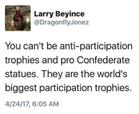 (S): Larry Beyince  @Dragonfly Jonez  You can't be anti-participation  trophies and pro Confederate  statues. They are the world's  biggest participation trophies.  4/24/17, 6:05 AM (S)