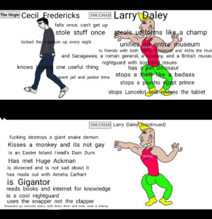 Larry Daley is fucking GOD: Larry Daley  The Virgin CecilFredericks  THE CHAD  falls once, can't get up  steals uifoms like a champ  stole stuff once  locked the museum up every night  unifies an entire pmuseum  Is friends with both Teddy Roosevelt and Atilla the Hun  cowboy, and a British museu  and Sacagawea, a roman general,  nightguard with boyfriend issues  has a pet, Dinosaur  knowsterally one useful thing  spent jail and janitor time Stops a thèft ike a badass  stops a psysho egypt prince  stops Lancelot and reviyes the tablet  THE CHAD Larry Daley (continued)  fucking destroys  giant snake demon  Kisses a monkey and its not gay  Is an Easter Island Head's Dum Dum  auCH!  Has met Huge Ackman  is divorced and is not sad about it  has made out with Amelia Earhart  is Gigantor  reads books and internet for knowledge  is a cool nightguard  uses the snapper not the clapper  thwacked up concrete stairs, falls down them and lives, what a champ. Larry Daley is fucking GOD