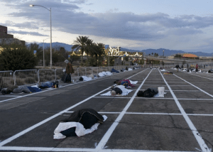 Las Vegas homeless rounded up and told to sleep in open-air carpark. No hotels apparently. Heartless: Las Vegas homeless rounded up and told to sleep in open-air carpark. No hotels apparently. Heartless