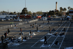 Las Vegas officials used chalk to set up a temporary shelter for the homeless.: Las Vegas officials used chalk to set up a temporary shelter for the homeless.
