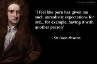 "Memes, Sex, and Porn: LASSICAL ART MEMES  ""I feel like porn has given me  such unrealistic expectations for  sex... for example, having it with  another person  '""  Sir Isaac Newton"