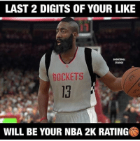 Basketball, Memes, and Nba: LAST 2 DIGITS OF YOUR LIKE  BASKETBALL  STUDIOS  ROCKETS  13  WILL BE YOUR NBA 2K RATING What's your rating? 👀