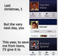 """<p>Christmas Special via /r/memes <a href=""""http://ift.tt/2zPaf0Q"""">http://ift.tt/2zPaf0Q</a></p>: Last  christmas, I  Gayview  Mahat  Add Friend Fow Message More  But the very  next day, you  Gavit Awaii  Add Friend  Message  This year, to save  me from tears,  I'll give it to  Sumwun  Speshal  乓迵..。  Legg il ven FoMelding Mer <p>Christmas Special via /r/memes <a href=""""http://ift.tt/2zPaf0Q"""">http://ift.tt/2zPaf0Q</a></p>"""