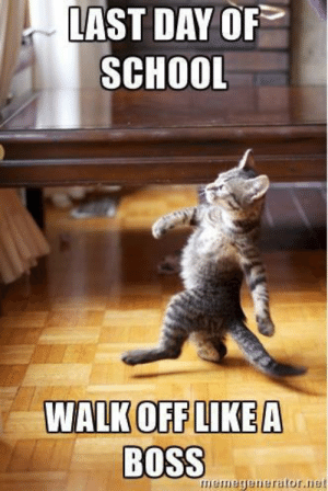 A meme collection: Them last day of school feels in every kind of ...: LAST DAY OF  SCHOOL  WALK OFF LIKE A  BOSS  meme  nerator.net A meme collection: Them last day of school feels in every kind of ...