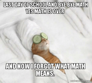 Last day of school and bye bye math yes math is over and now I ...: LAST DAY OF SCHOOLAND BYE BYE MATH  YES MATH IS OVER  AND NOW I FORGOT WHAT MATH  MEANS  makeameme.org Last day of school and bye bye math yes math is over and now I ...