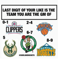 Basketball, Memes, and Clippers: LAST DIGIT OF YOUR LIKE IS THE  TEAM YOU ARE THE GM OF  0-1  2-4D IERL  CLIPPERS 67  5  8-9  DENVE  @SIDELINEBUCKETS What team are you the GM of? - 🏀🔥 FOLLOW @SIDELINEBUCKETS FOR MORE BASKETBALL CONTENT! @sidelinebuckets @sidelinebuckets @sidelinebuckets 🔥🏀
