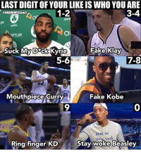Fake, Memes, and Goat: LAST DIGIT OF YOUR LIKE IS WHO YOU ARE  @NBAMEMESGoat2  1-2  3-4  @ce  UM  PTUM  ec  Suck My D ck Kyrie  Fake Klay  7-8  8-7387  Mouthpiece Curry  Fake Kobe  9  0  goat in  ne% y  ork  Ring finger KD  Stay woke Beasley Last digit of your like is who you got 🔥👀 - Follow @_nbamemes._