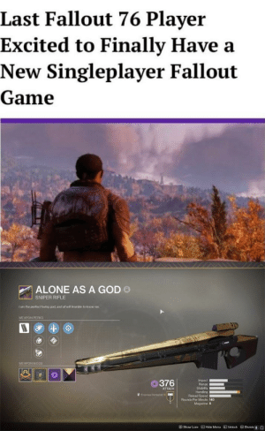 Being Alone, God, and Fallout: Last Fallout 76 Player  Excited to Finally Have a  New Singleplayer Fallout  Game  ALONE AS A GOD o  SNIPER RIFLE  I am the perfect loving goct and al wil trembie to know me.  WEAPON PERKS  WEAPON MODS  O376  Impact  Range  Stability  Handing  Reload Speed  ATTACK  Enmien Defeated 0  Rounds Per Minute 140  Magazine 6  @show Lore  Hide Menu  อ Uniock  目Dismis儓  0 It was his plan all along