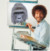 Last known image of bob ross and his last painting: Last known image of bob ross and his last painting
