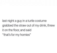 """Turtle, Thathappened, and Last Night: last night a guy in a turtle costume  grabbed the straw out of my drink, threw  it on the floor, and said  """"that's for my homies"""""""