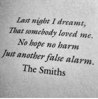 Alarm, Hope, and Another: Last night I dreamt,  That somebody loved me  No hope no harm  Just another false alarm  The Smiths